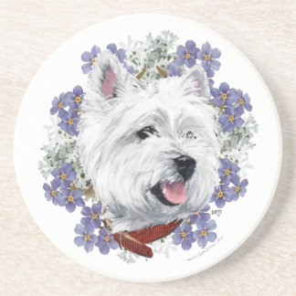 Westie Forget Me Not Coaster