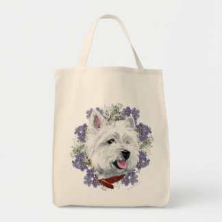 Westie Forget Me Not Grocery Tote Bag