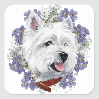 Westie Forget Me Not Square Sticker