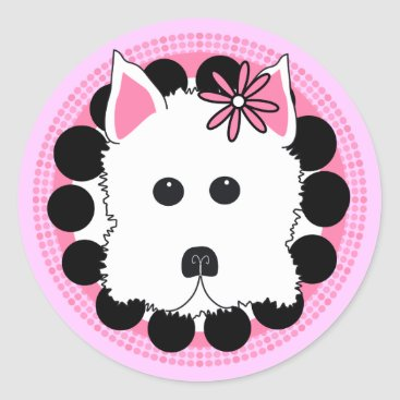 Professional Business Westie Girl Classic Round Sticker