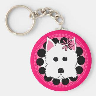 Westie Girl Basic Round Button Keychain