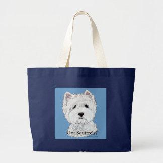 Westie Got Squirrels Canvas Bag