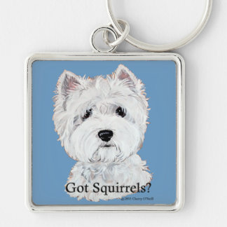 Westie  Got Squirrels? Silver-Colored Square Keychain