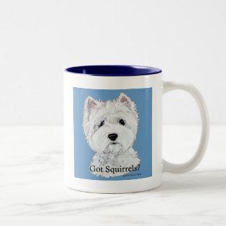 Westie  Got Squirrels? Two-Tone Coffee Mug