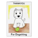 Westie gracias para la tarjeta de Dogsitting
