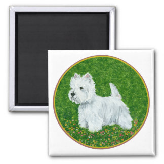 Westie Greengrass 2 Inch Square Magnet