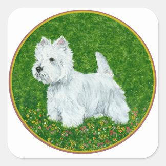 Westie Greengrass Square Sticker