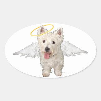Westie Guardian Angels Oval Sticker
