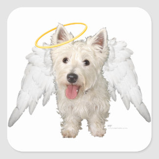Westie Guardian Angels Square Stickers