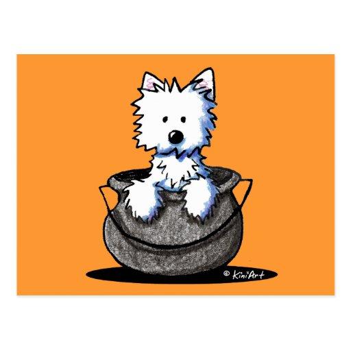 Westie Halloween Cauldron Cutie Postcard