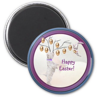 Westie Happy Easter Gold Easter Egg Tree Design 2 Inch Round Magnet