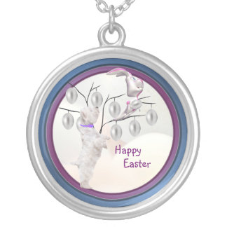 Westie Happy Easter Silver Easter Egg Tree Design Round Pendant Necklace