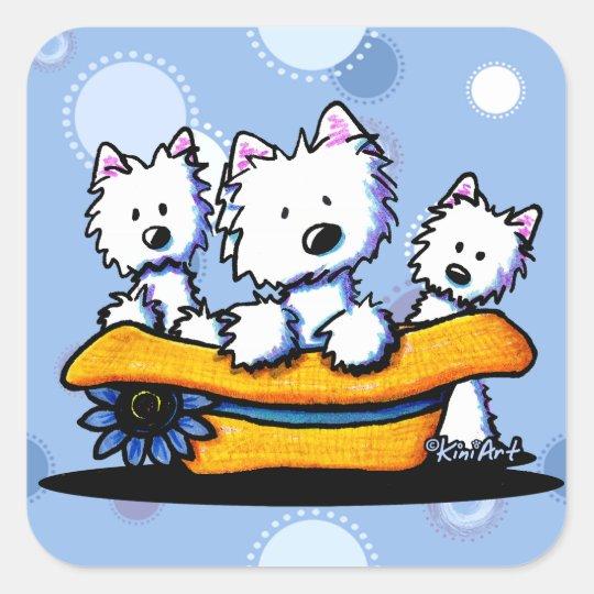 Westie Hat Trio Stickers