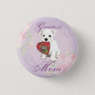 Westie Heart Mom Button