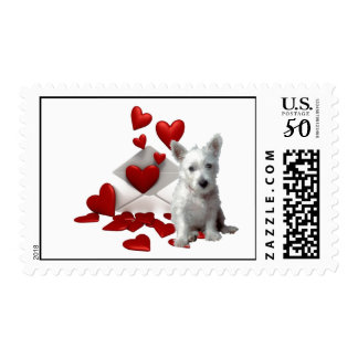 westie hearts envelope postage