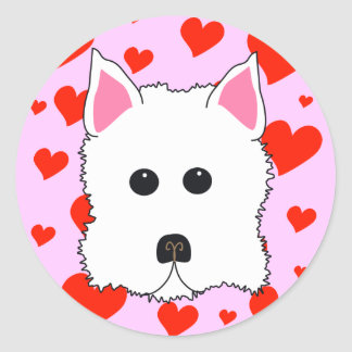 Westie Hearts Stickers
