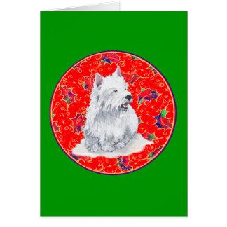 Westie Here Comes Santa Claus Card