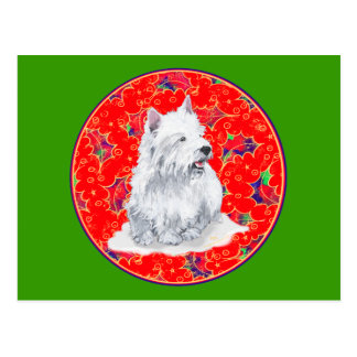 Westie Here Comes Santa Claus Postcard