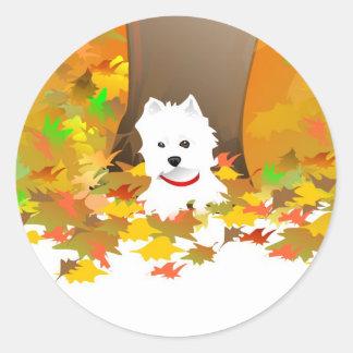 Westie - hojas de otoño - pegatina