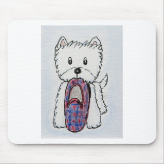 WESTIE HOLDING SLIPPER MOUSE PAD