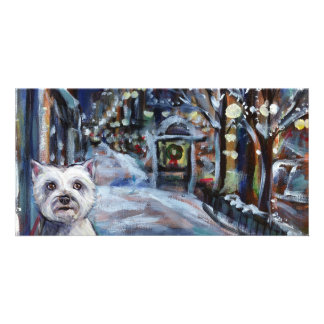 Westie Holiday scene Personalized Photo Card
