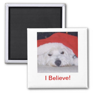 Westie in a Santa Hat 2 Inch Square Magnet
