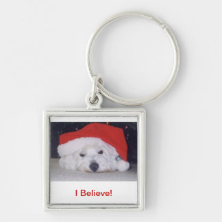 Westie in a Santa Hat Silver-Colored Square Keychain