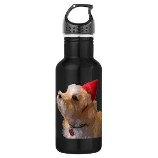 Westie in a Santa hat Water Bottle