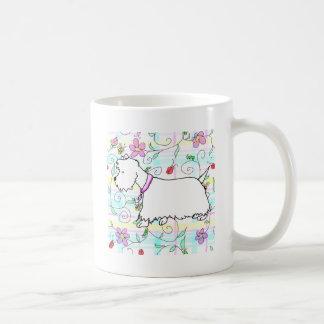 Westie in a spring plaid coffee mug