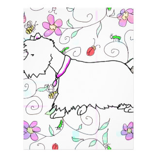 Westie in a spring plaid letterhead