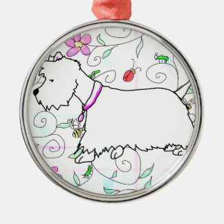 Westie in a spring plaid metal ornament