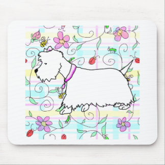 Westie in a spring plaid mouse pad