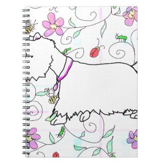 Westie in a spring plaid spiral notebook