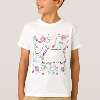 Westie in a spring plaid T-Shirt