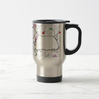 Westie in a spring plaid travel mug