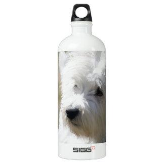 Westie in the springtime aluminum water bottle