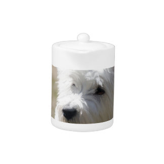 Westie in the springtime teapot