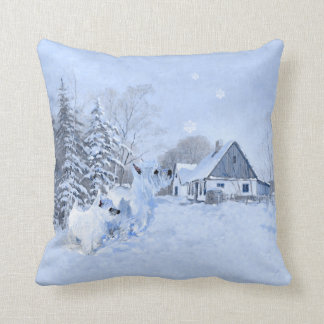 Westie in Wintertime PILLOW Throw Pillows