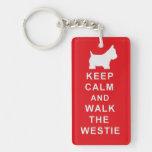 Westie Keep Calm Walk Birthday Christmas present Single-Sided Rectangular Acrylic Key Ring