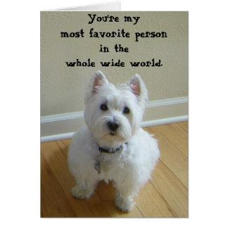 Westie la mayoría de la tarjeta de felicitación pr