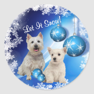Westie Let It Snow Holiday Greeting Classic Round Sticker
