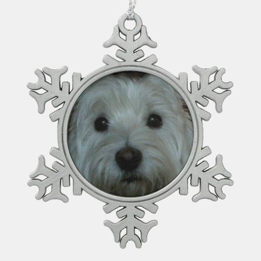 Westie lindo hace frente al ornamento del copo de adorno de peltre en forma de copo de nieve