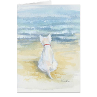 Westie looking to the sea card