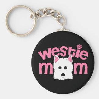 Westie Mom Basic Round Button Keychain