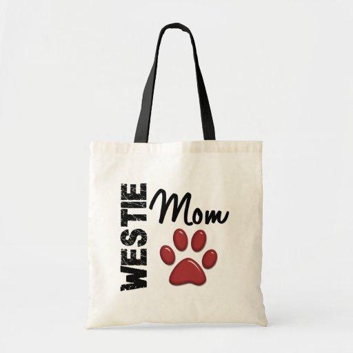 Westie Mom Paw Print 2 Canvas Bag
