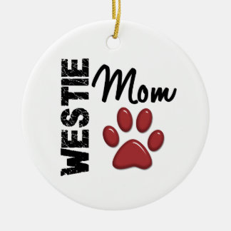 Westie Mom Paw Print 2 Ceramic Ornament