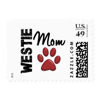 Westie Mom Paw Print 2 Postage Stamps