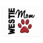 Westie Mom Paw Print 2 Postcards