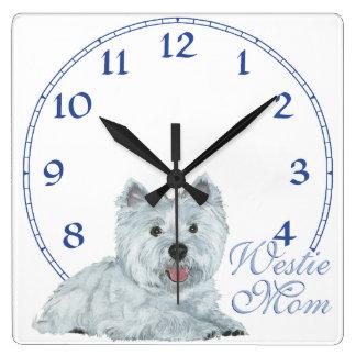 Westie Mom Square Wall Clock