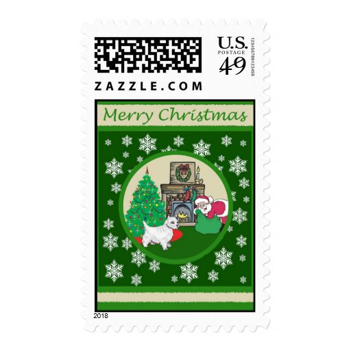 Westie Old Fashioned Christmas Stamp
